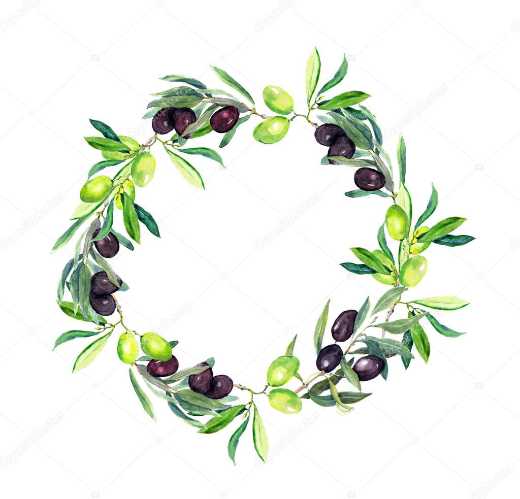 Olives branches - olive tree . Round wreath. Watercolor
