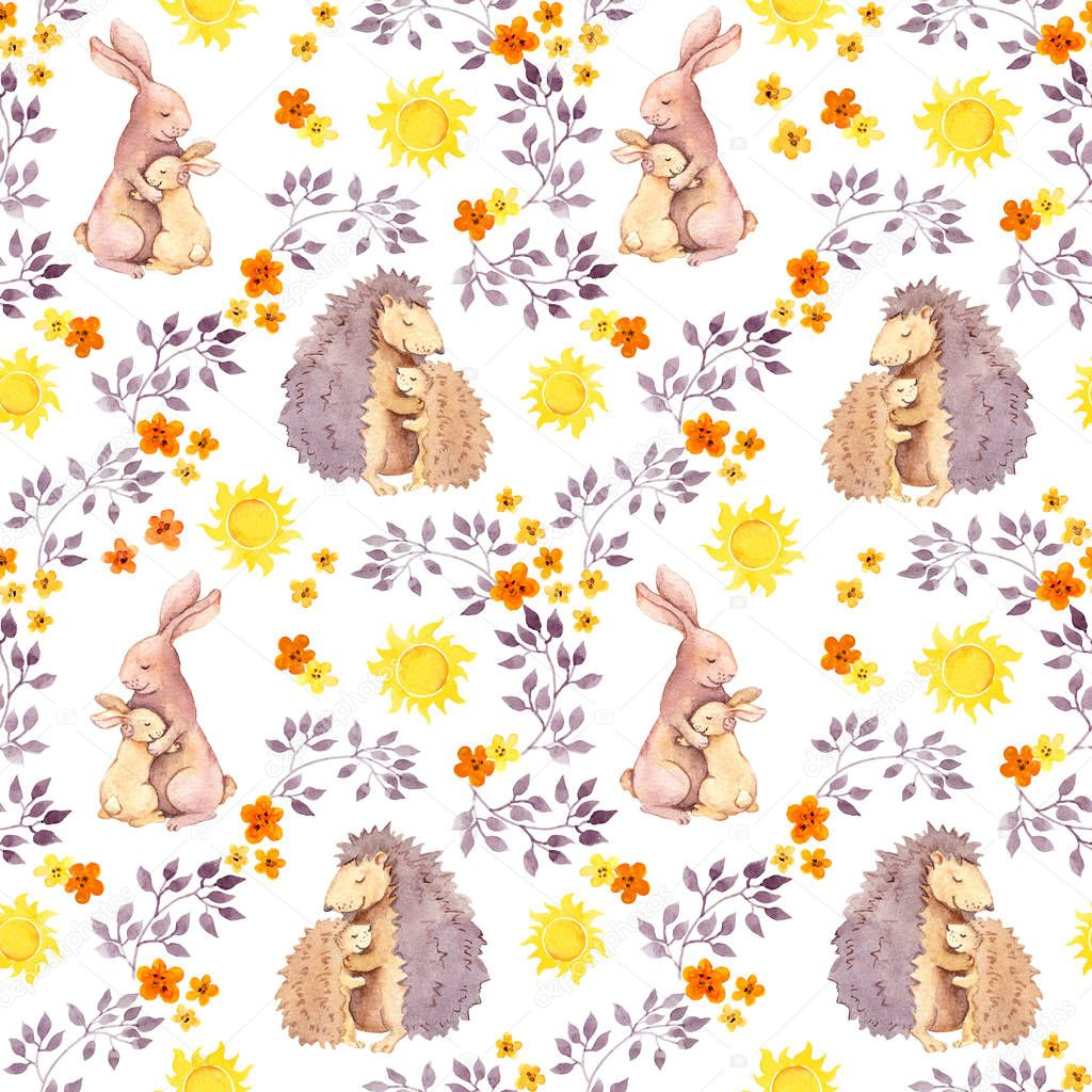 Mother rabbit and momhedgehog hug baby animal. Watercolor painted seamless pattern