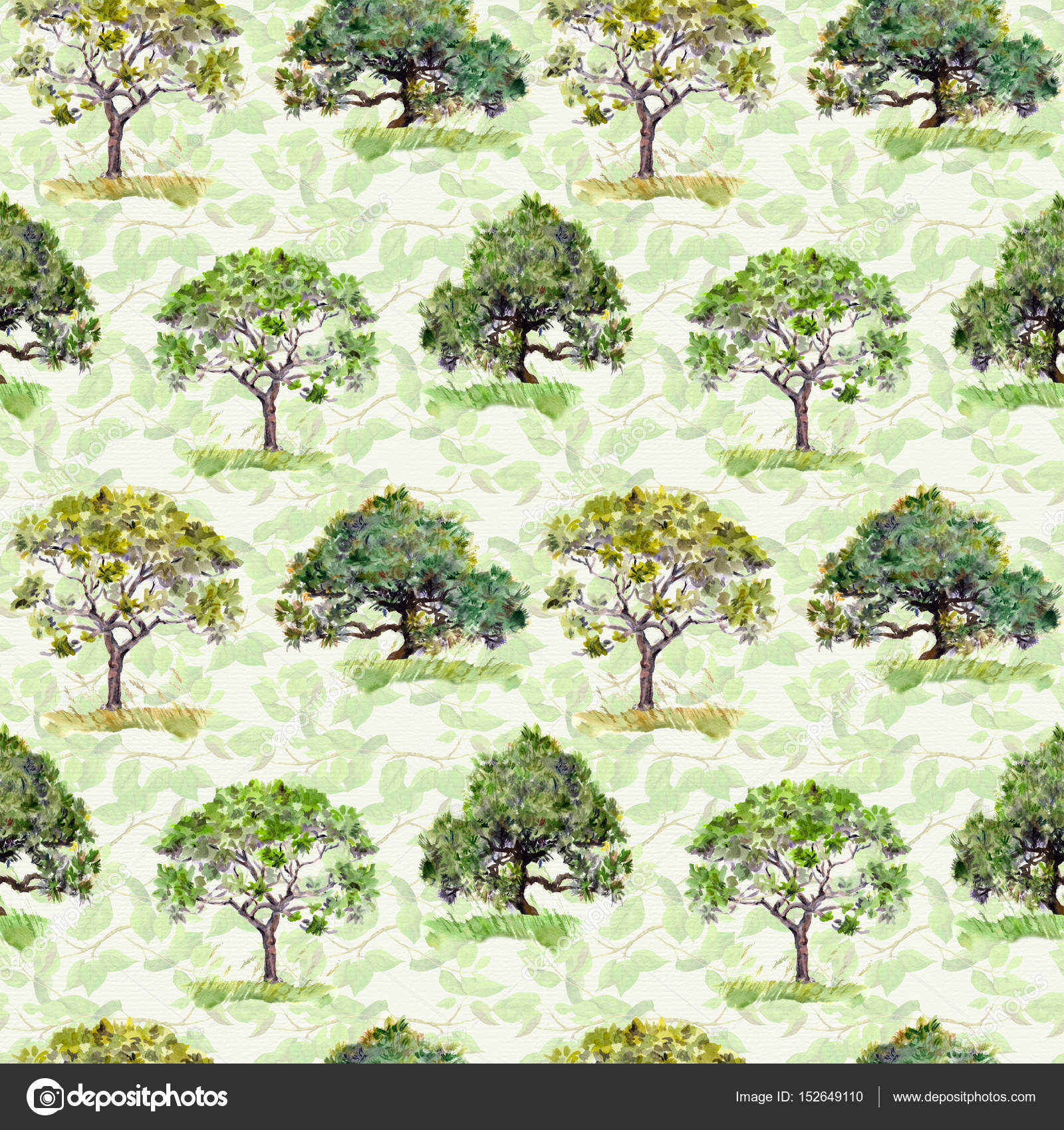 Green trees. Park, forest pattern. Repeating background with leaves ...