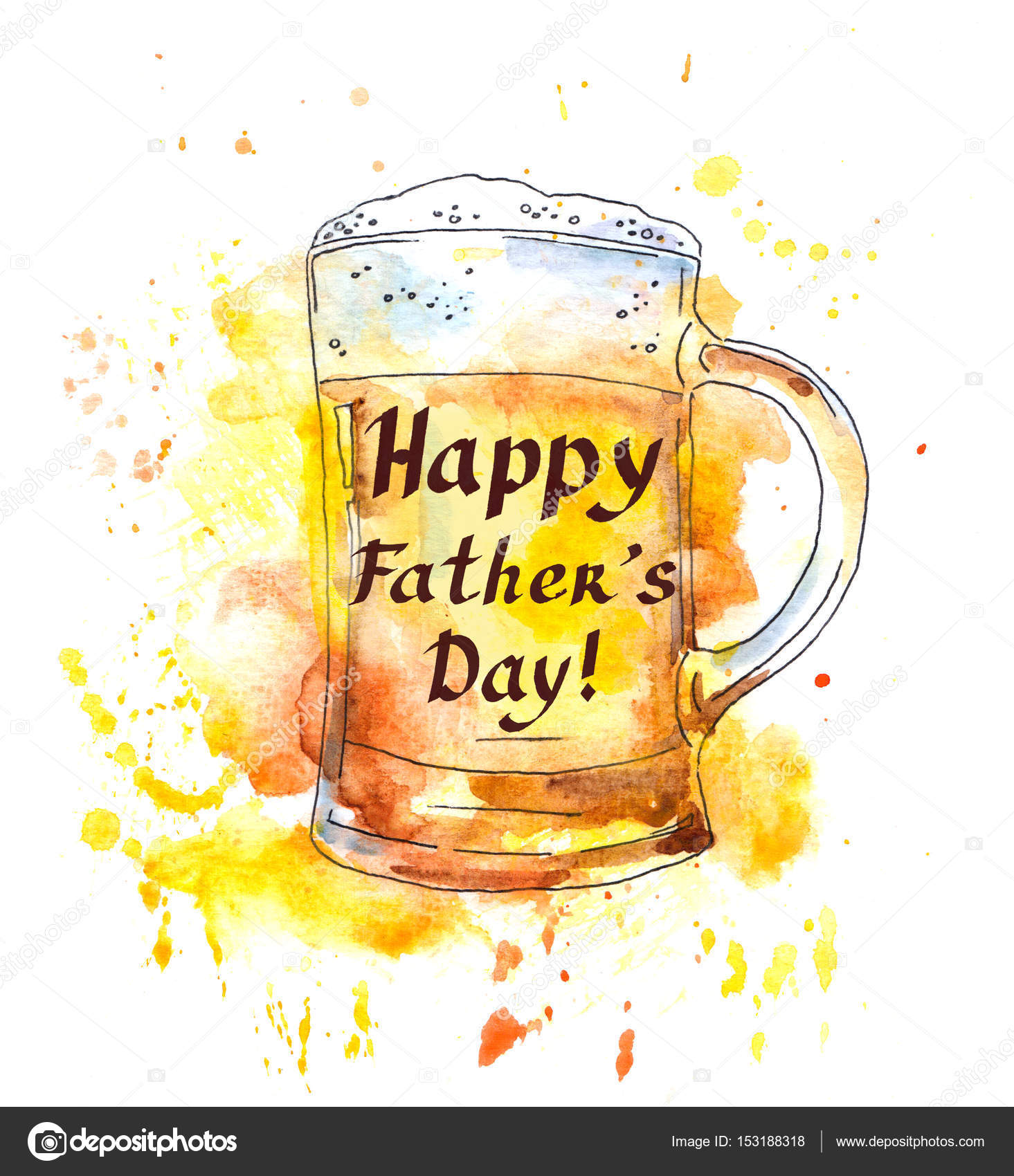 Beer Glass And Note For Fathers Day Watercolor Stock Photo