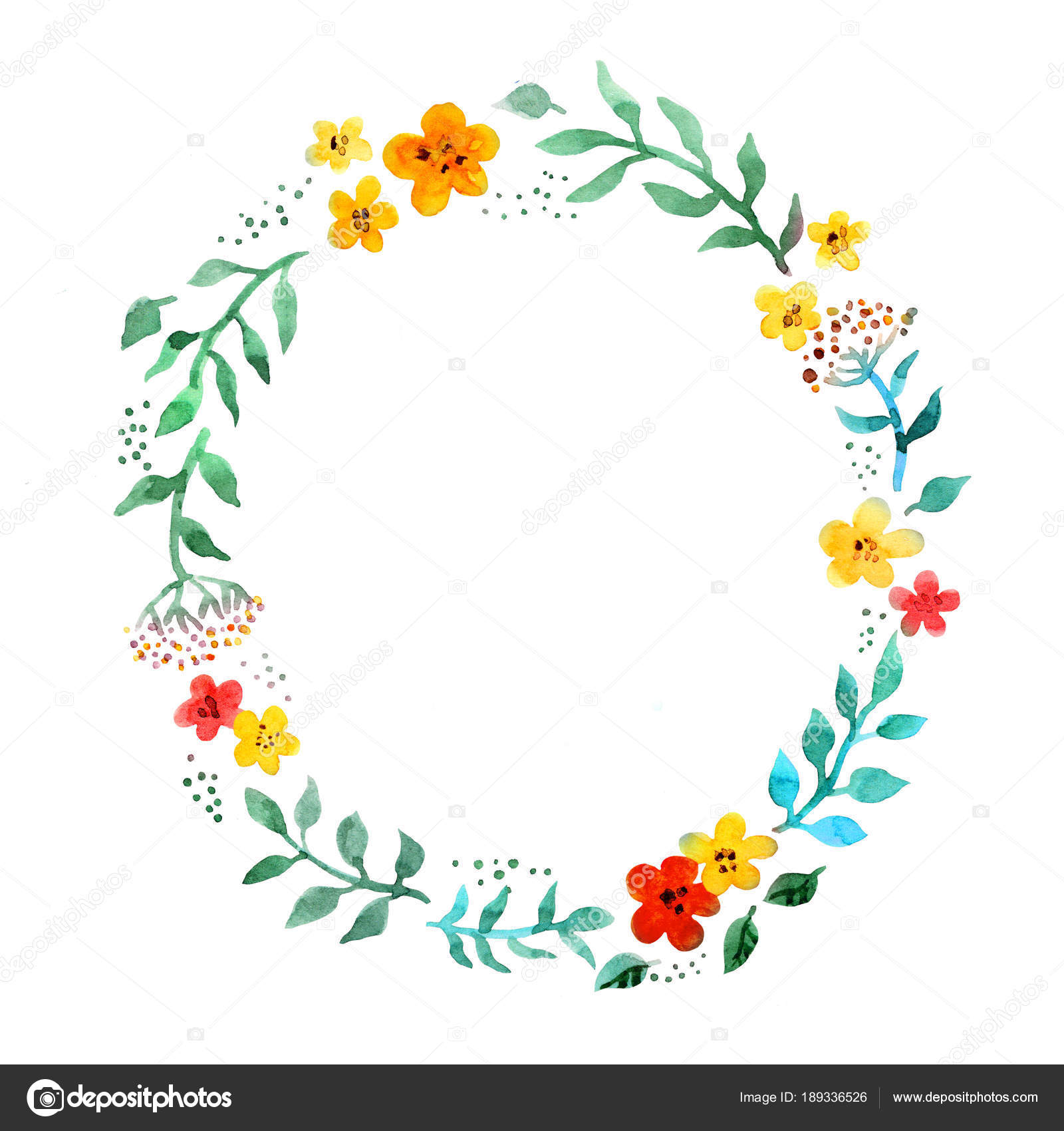 Floral Circle Wreath With Cute Flowers Watercolor Hand Painted Border Stock Photo