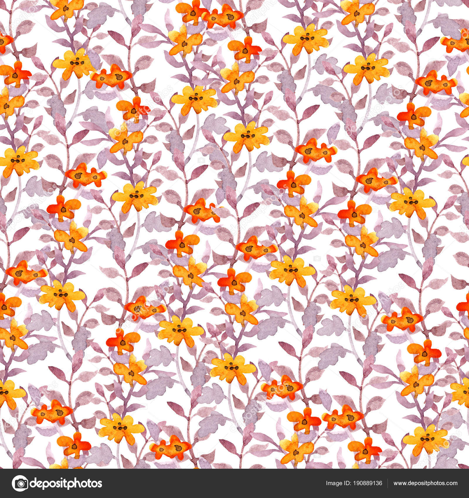 Seamless Cute Floral Pattern Vintage Pretty Flowers And Leaves