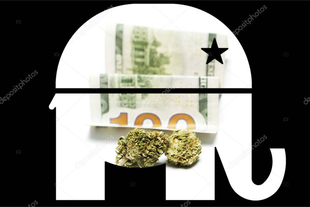 Marijuana Politics Cannabis Buds Republican Democratic Symbols