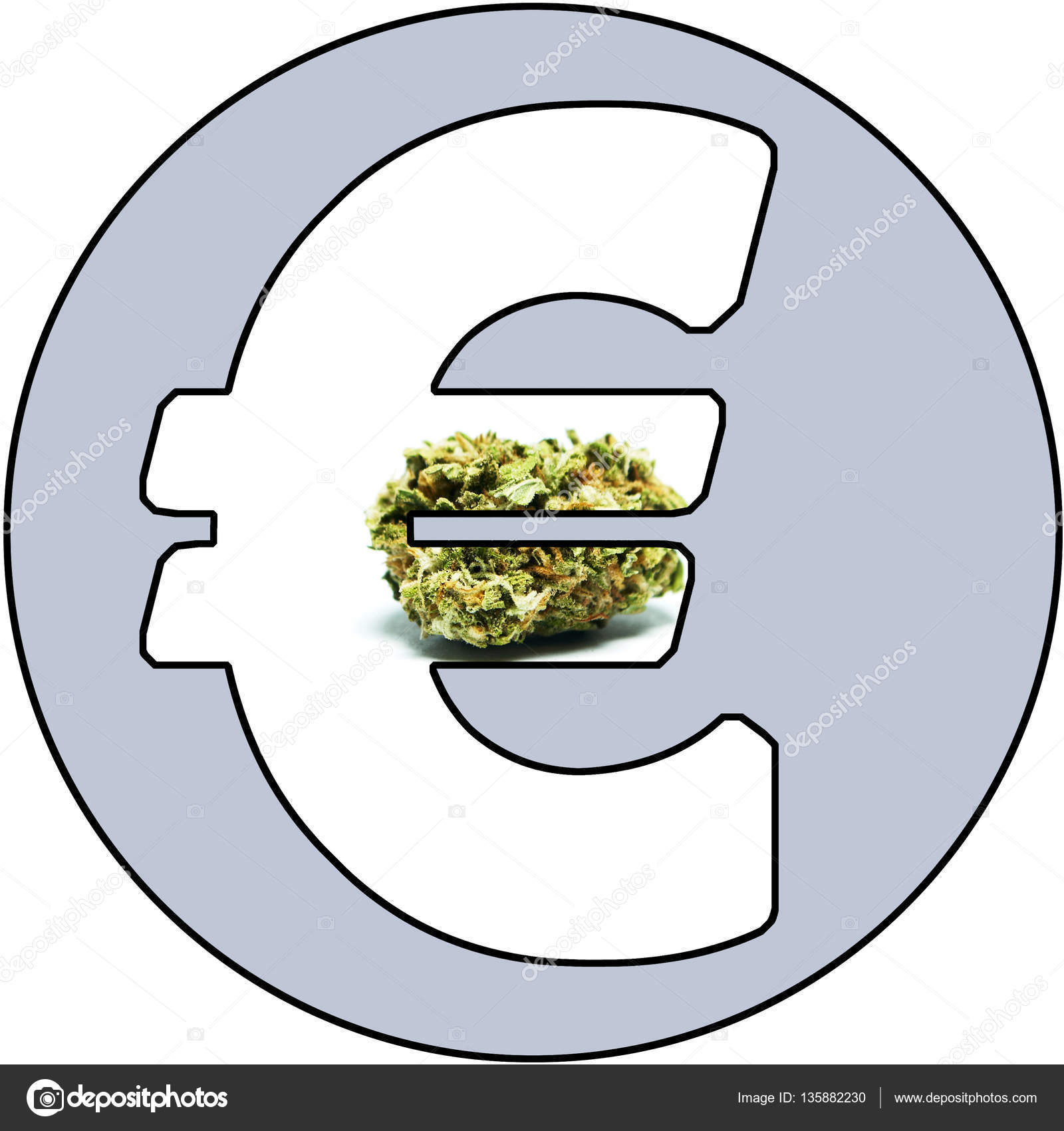 Marijuana Money Cannabis Weed And Pot Buds In The Euro Symbol