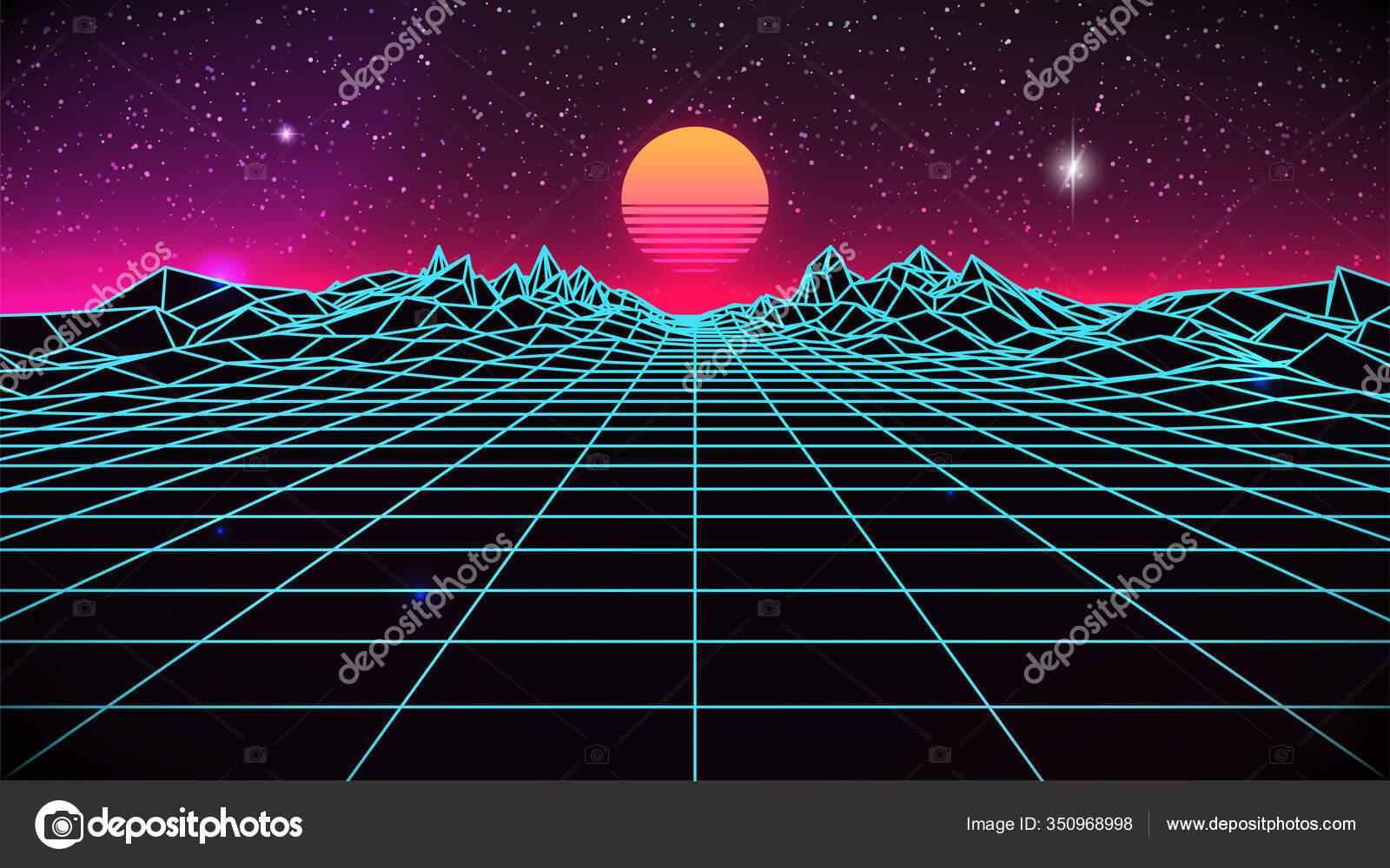 depositphotos 350968998 stock illustration synthwave sunset background 80s sun