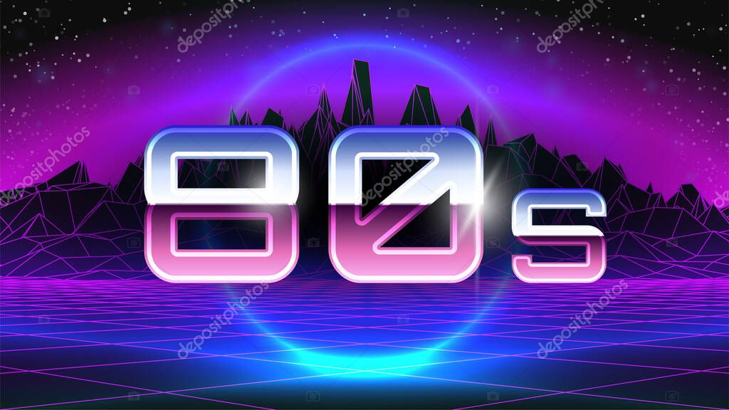 80s Banner Big Chrome Letters Perspective Grid Pink Wireframe Mountain Synthwave Retro Future Style Blue Circle Neon Glow Sci Fi Background Abstract 3d Backdrop Stock Vector Illustration Premium Vector In Adobe Illustrator