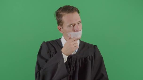 Adult Man Judge Taking Tape Off