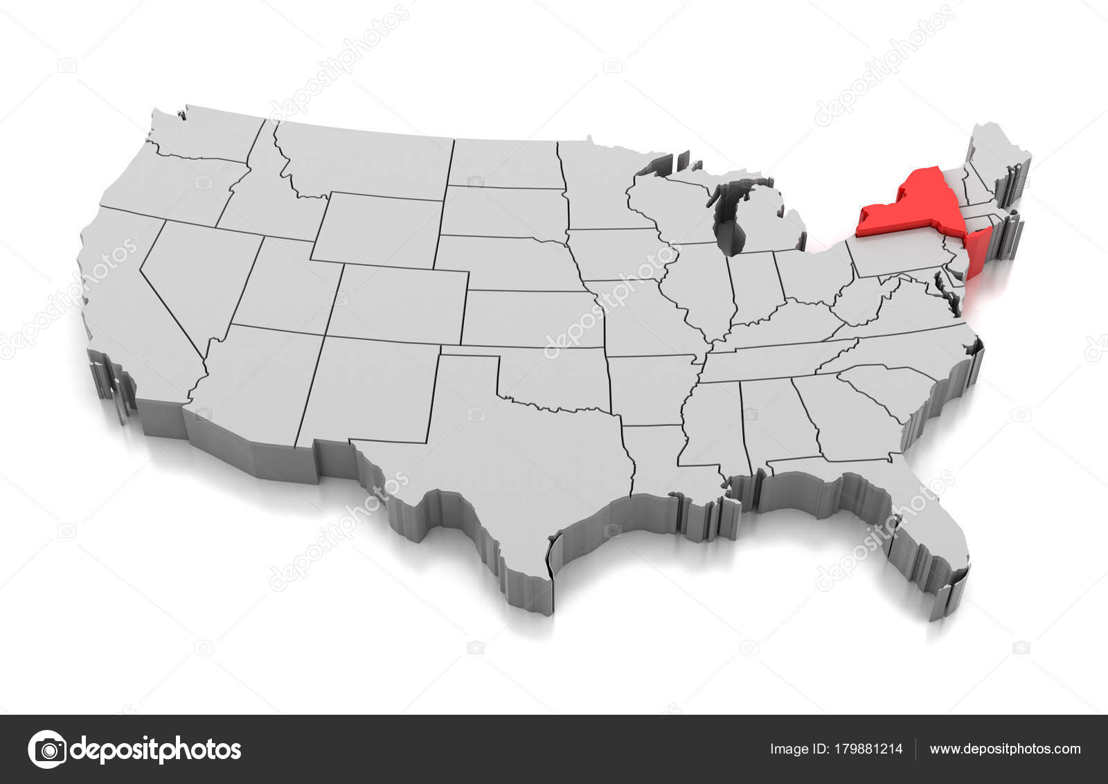 Map Of New York State Usa.Map Of New York State Usa Stock Photo C Md3d 179881214