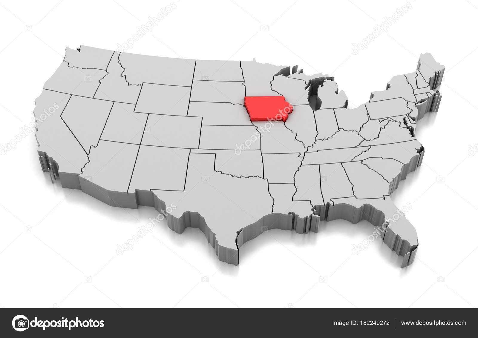 Map of Iowa state, USA — Stock Photo © md3d #182240272