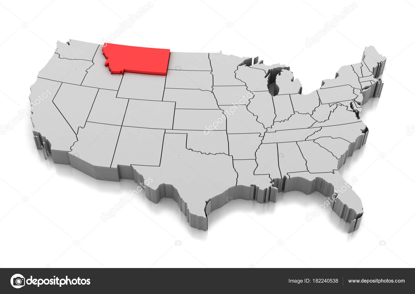 Map of Montana state, USA — Stock Photo © md3d #182240538
