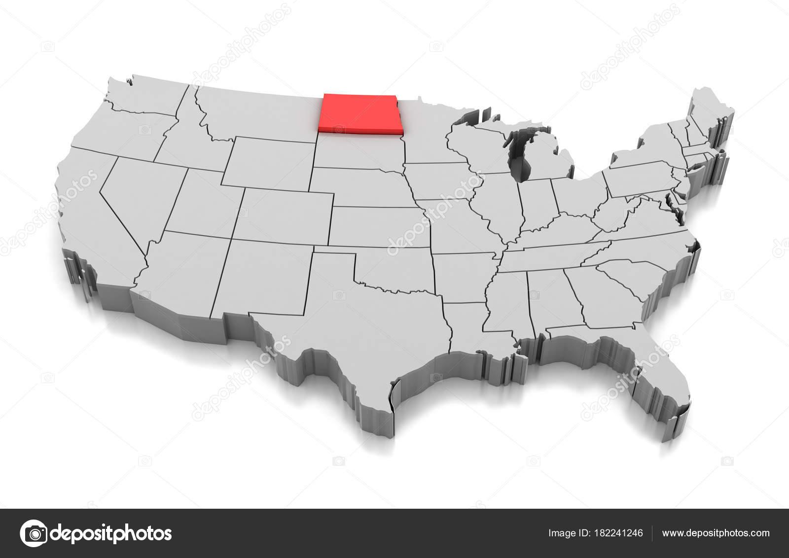 Map of North Dakota state, USA — Stock Photo © md3d #182241246