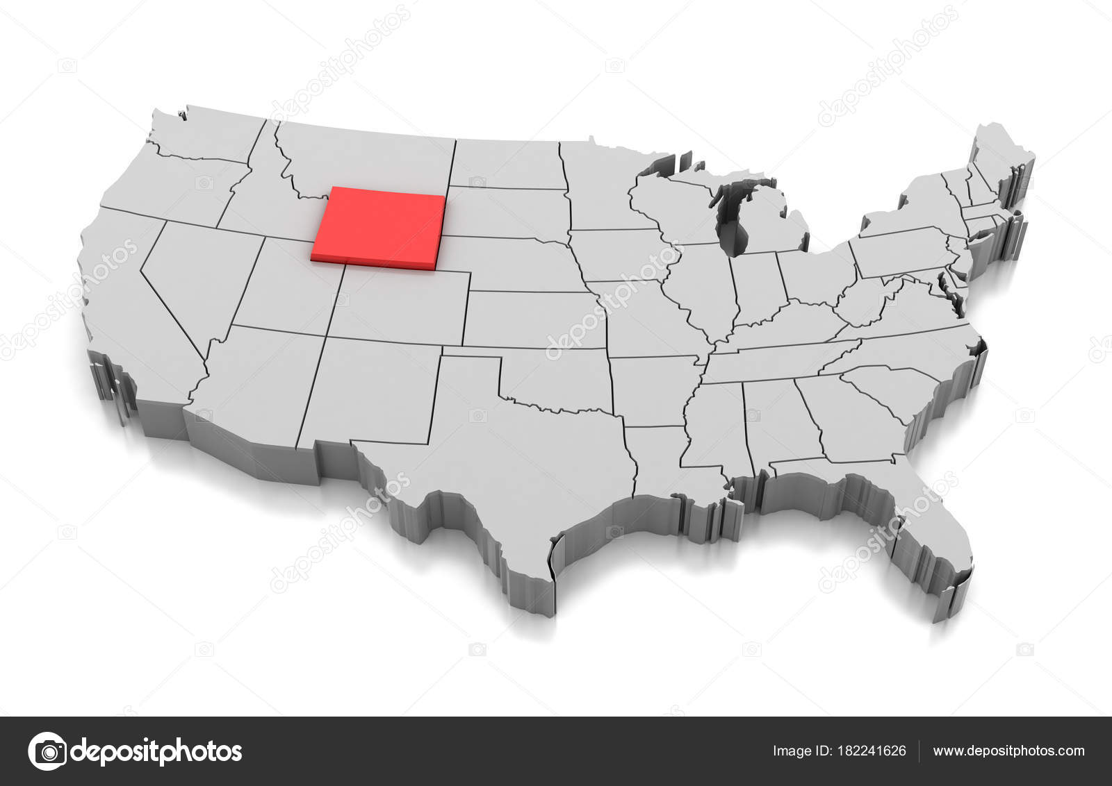 Pictures : wyoming state | Map of Wyoming state, USA — Stock ...