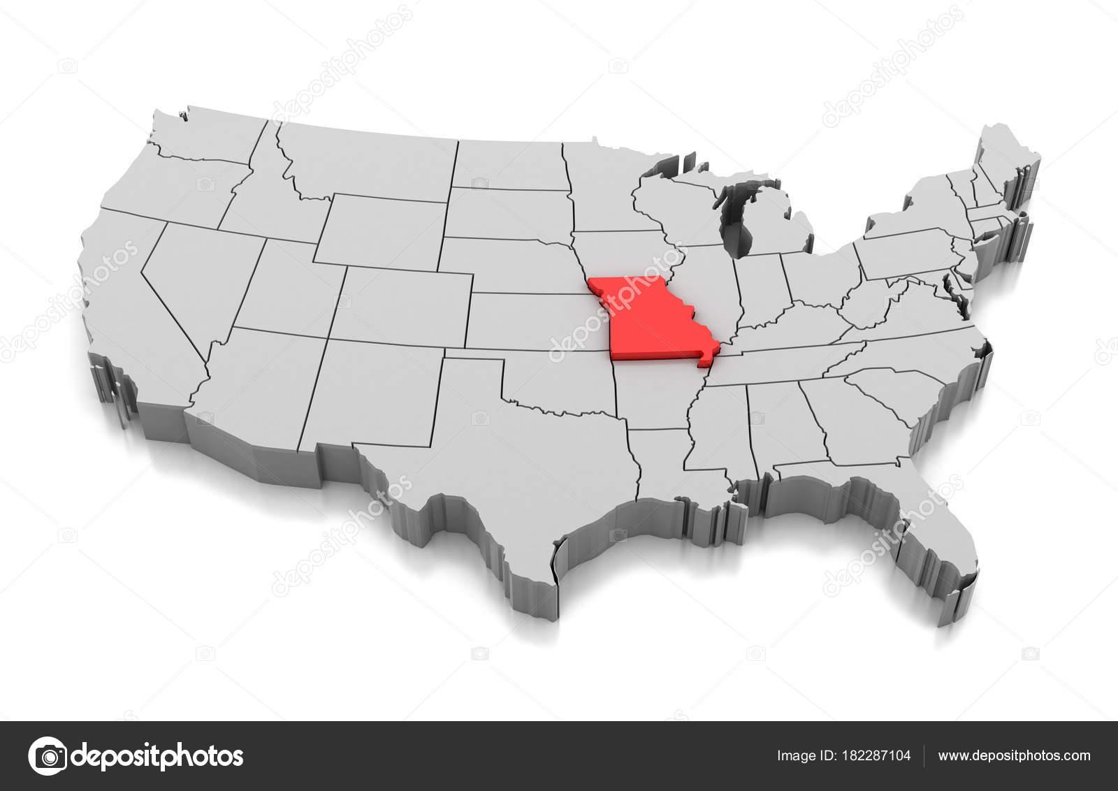 Map of Missouri state, USA — Stock Photo © md3d #182287104