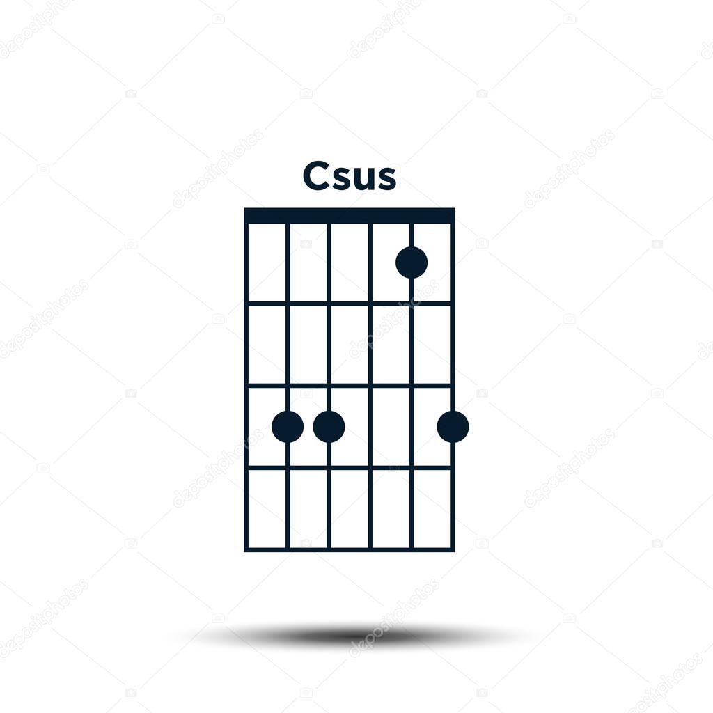 ✓ C sus, Basic Guitar Chord Chart Icon Vector Template premium ...