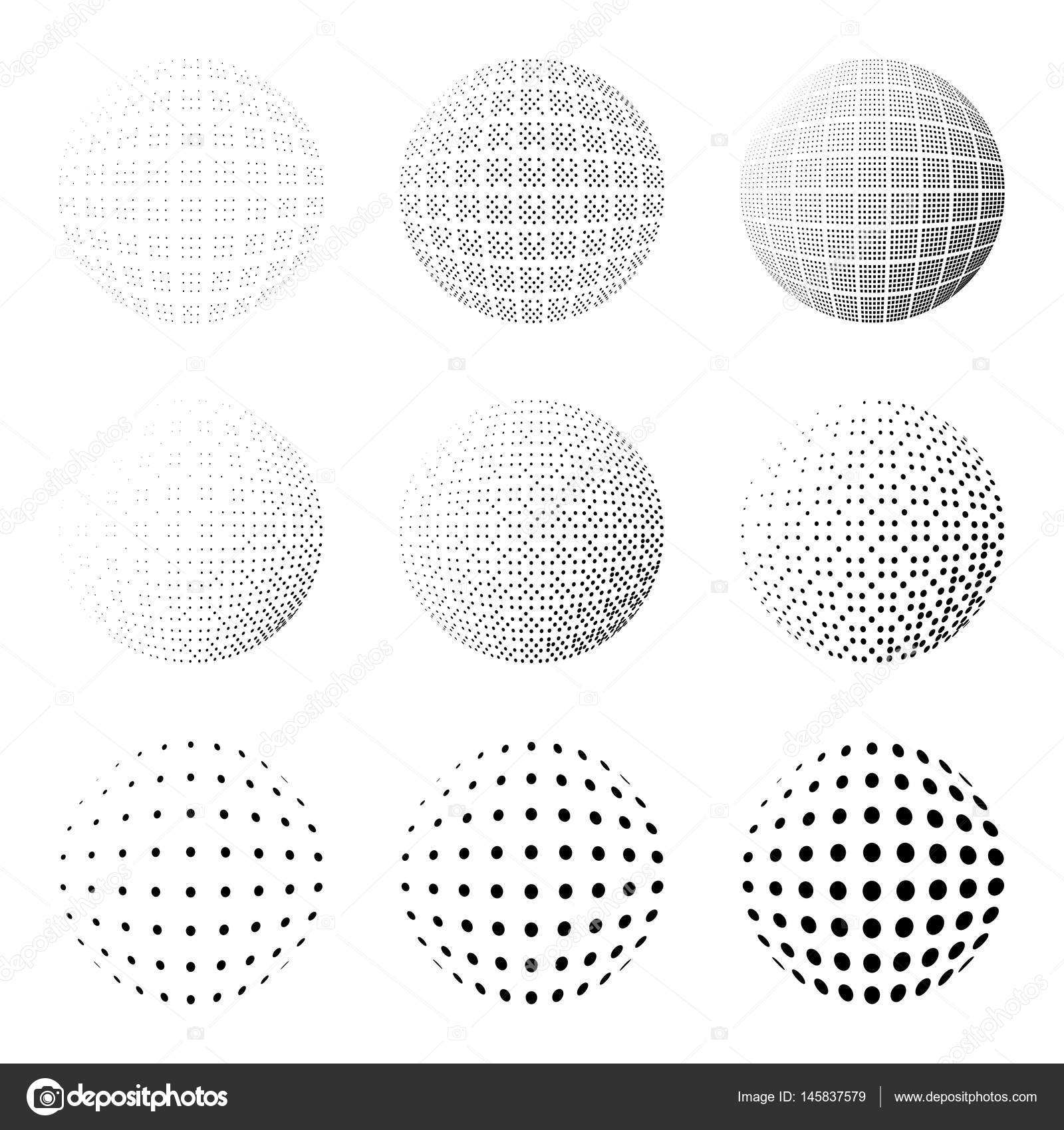 Set of halftone circles isolated on the white backgroundllection collection of halftone effect dot patternssphere illustrationabstract business symbolrcular vector logo for your designolated black icon buycottarizona Image collections