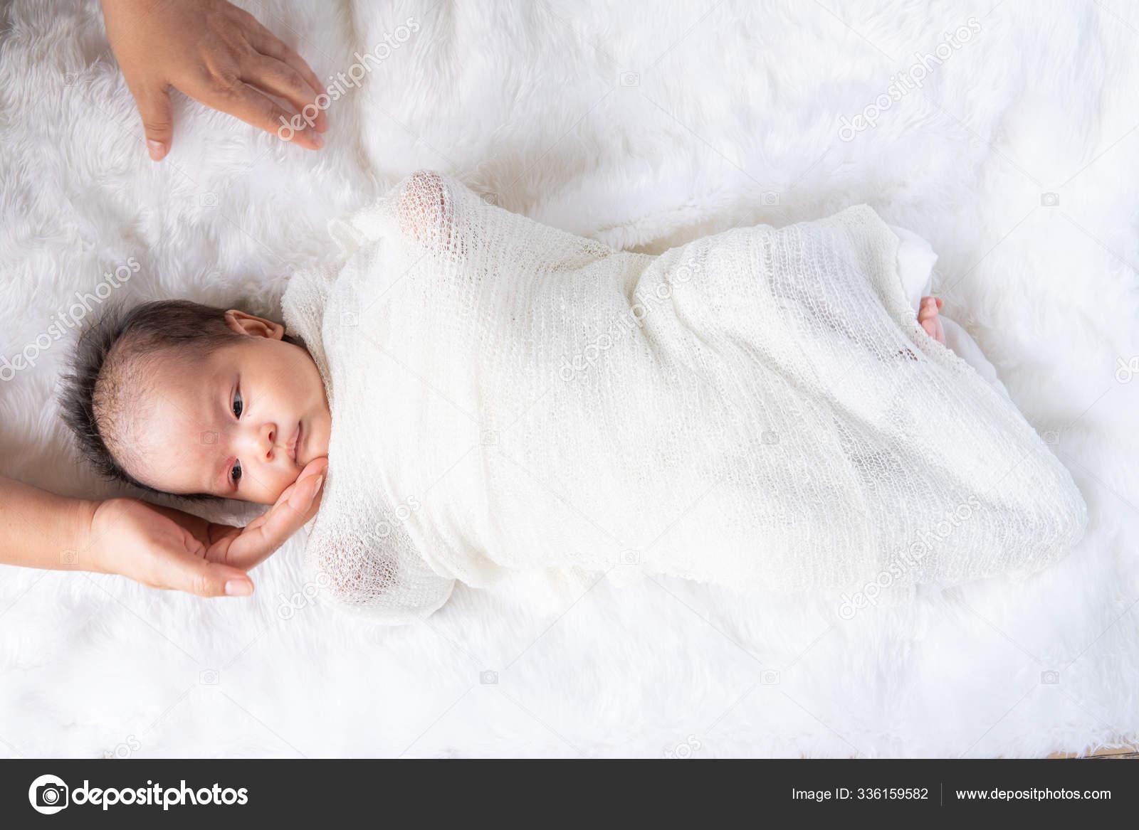Cute Newborn Baby Girl White Blanket Nursery Bed Adorable New Stock Photo C Golfmhee 336159582