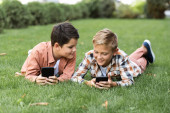 two cheerful brothers lying on green lawn and using smartphones