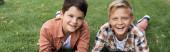 panorámás felvétel két vidám testvér feküdt a zöld füvön, és mosolygott a kamera