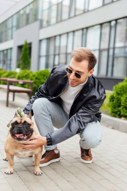 Handsome man in sunglasses stroking french bulldog on street stock vector