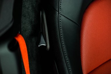 KYIV, UKRAINE - OCTOBER 7, 2019: selective focus of leather car seat in luxury porshe stock vector