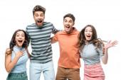 Fotografie vzrušené přátelé křičí a slaví izolované na bílém