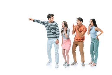shocked man pointing and showing something to excited friends, isolated on white