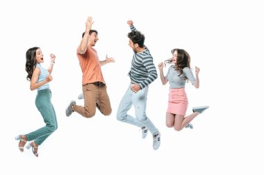 Excited friends jumping together, isolated on white stock vector