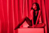 sexy woman posing in black bodysuit and fishnet tights in red light