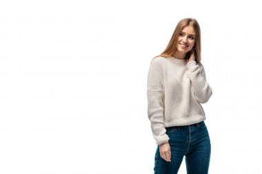 Attractive happy in jeans and white sweater, isolated on white stock vector