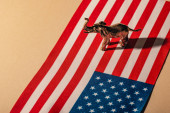 Fotografia Golden toy elephant with shadow on american flag, animal welfare concept