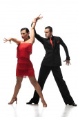 passionate, stylish dancers performing tango on white background