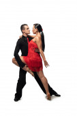 passionate, elegant couple of dancers performing tango on white background