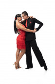 expressive couple of dancers performing tango on white background
