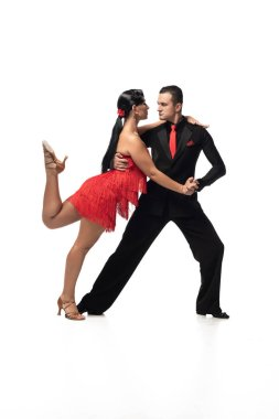 passionate couple of dancers performing tango on white background