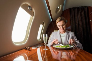 Happy businesswoman holding cutlery near salad and champagne glass in private jet stock vector
