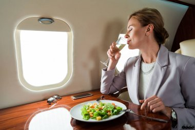 Businesswoman drinking champagne near tasty salad in private jet stock vector