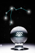 crystal ball with Aquarius zodiac sign isolated on black with constellation