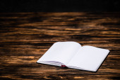 open blank book on wooden textured table