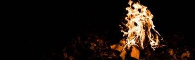 Gecenin karanlığında kamp ateşinde alevlerin ve odunların panoramik çekimi