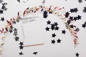 shora pohled na notebook s 2020 seznam cílů s prázdnými body v blízkosti dekorativní, lesklé hvězdy a hadovité na bílém stole