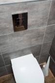 kerámia tiszta WC-csésze a modern mosdóban szürke csempe és WC kefe