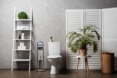 belső tér modern fürdőszoba WC-vel tál közelében állvány kozmetikumokkal, törölközők, WC-papír, szennyeskosár, pálmafa és WC kefe