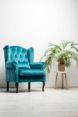 elegant velour blue armchair with pillow near green plant