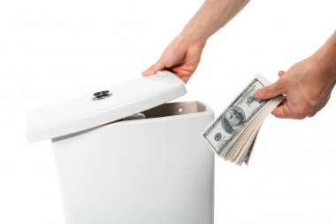 cropped view of woman hiding dollars in ceramic clean toilet bowl isolated on white