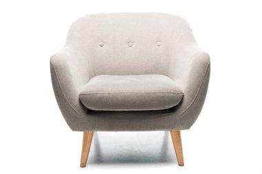 comfortable grey modern armchair on white