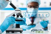 a mikroszkópot használó biológus és afro-amerikai munkatársa szelektív fókusza, akik genetikai illusztrációval vizsgálják a háttérben lévő leveleket