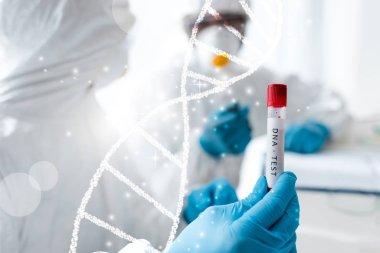 Bilim adamının ve Afrikalı Amerikalı meslektaşının DNA testi için DNA örnekleri...
