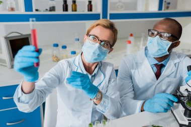 Selective focus of multicultural biologists looking at test tube in lab stock vector