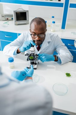 Cropped view of biologist wearing latex gloves and african american colleague using microscope stock vector