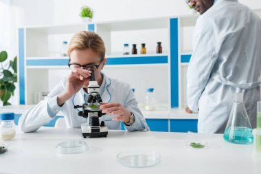 Cropped view of african american biologist looking at colleague with microscope stock vector